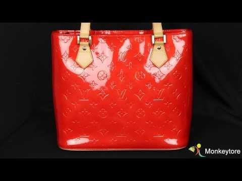 Authentic Louis Vuitton Red Monogram Vernis Houston