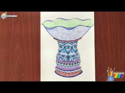 Cách vẽ tạo dáng và trang trí chậu cảnh mỹ thuật 8 / How to shape and decorate a pot