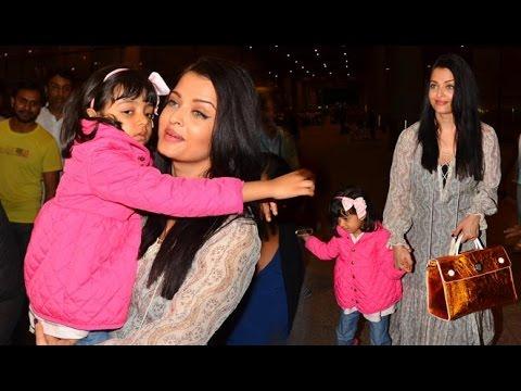 Aishwarya Rai With Daughter Aaradhya Bachchan At Mumbai Airport Returning From Cannes 2016