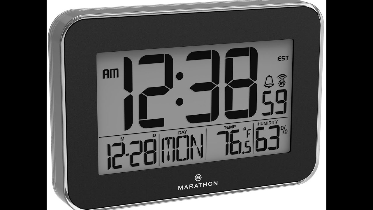 Fantastic marathon cl030060bk crystal framed atomic wall clock marathon cl030060bk crystal framed atomic wall clock with temperature humidity amipublicfo Choice Image