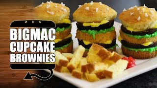 Big Mac Cupcake Brownies with Cake Fries - HellthyJunkFood