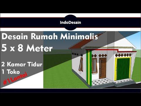 desain rumah minimalis 5x8 meter | 2 kamar tidur & 1 toko