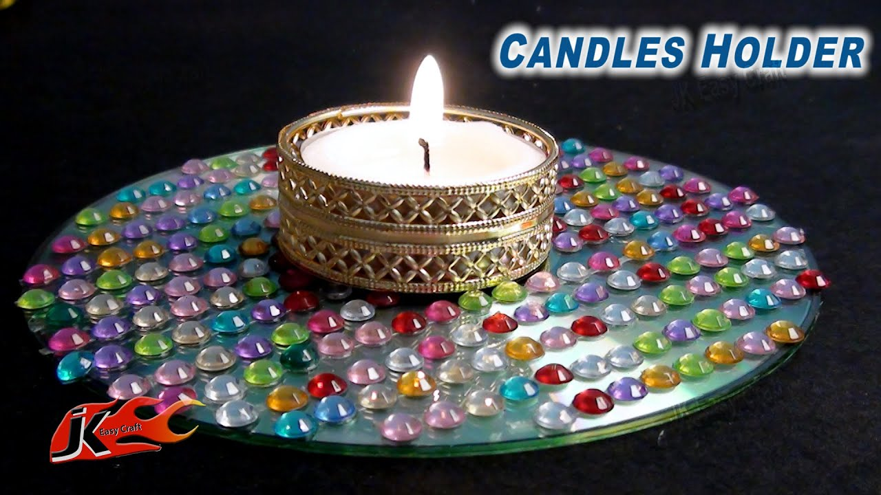 Diy easy cd dvd candle holder how to make jk easy craft for Candle decoration with waste material