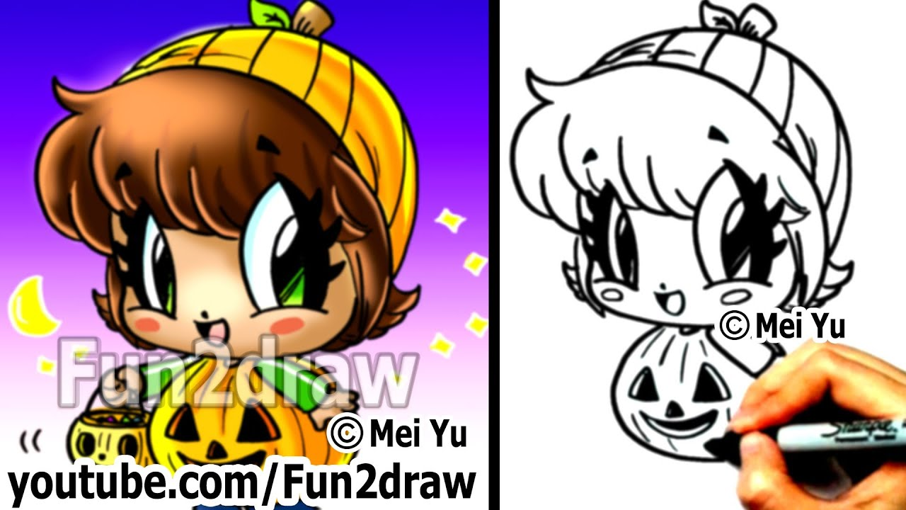 How To Draw Halloween Characters Pumpkin Girl Draw People