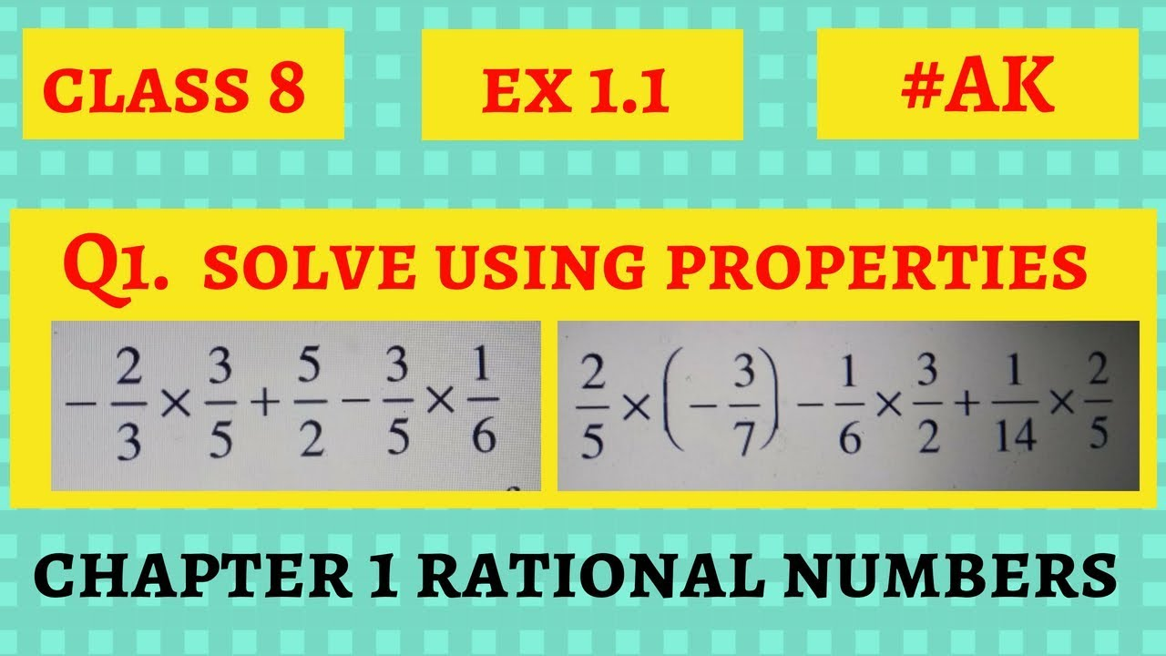 #1 Ex 1 1 class 8 Q1 chapter 1 Rational Numbers in Hindi by Akstudy 1024