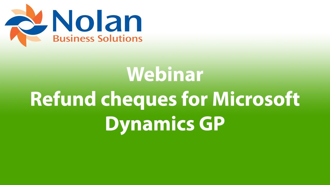 Refund cheques for Microsoft Dynamics GP