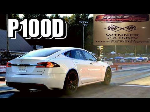 tesla p100d takes on drag car videos. Black Bedroom Furniture Sets. Home Design Ideas