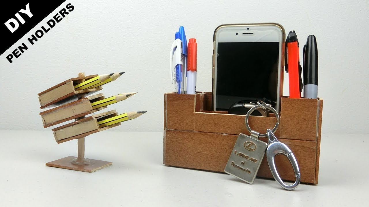 4 Easy Quick Wooden Pen Holders You Can Make Diy