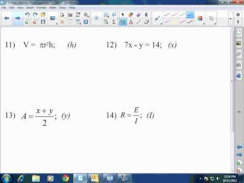Algebra I & II: Solving Literal Equations