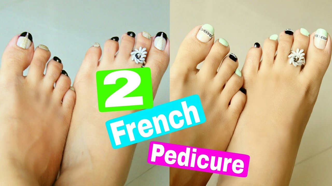 2 Easy & Quick French Pedicure designs | 2 Toe Nail Art Designs ...