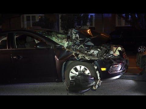 Car Crash Rear-ended Parked Garbage Truck. Victoria Dr. Vancouver B.C