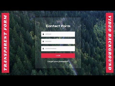 Transparent Login Form Design with Video Background | Login form Design | Web Design Tutorial