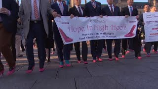 Men Walk in Bright Pink High Heels to Raise Money to Fight Domestic Violence thumbnail