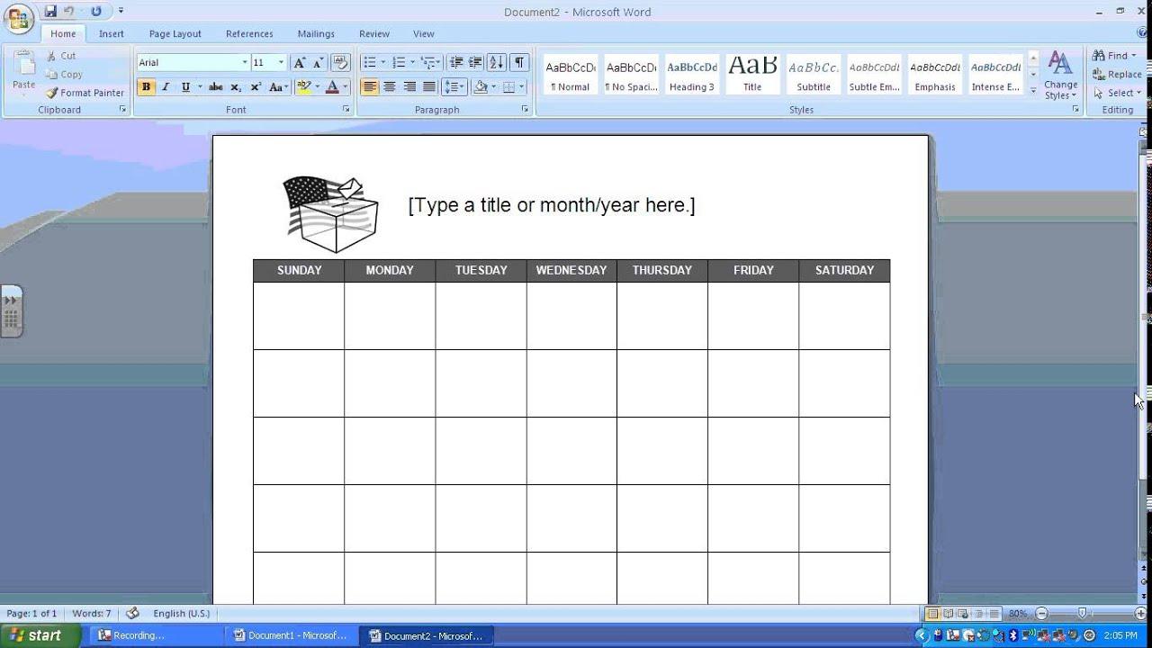 Como Hacer Un Calendario En Word.Crear Un Calendario Con Microsoft Word 1