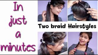 Two Braid Hairstyles 😍 । Easy hairstyles for school going girls