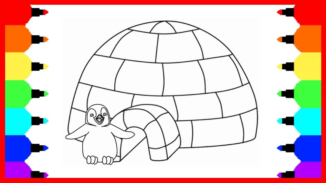 how to draw penguin and a penguin house coloring pages drawing