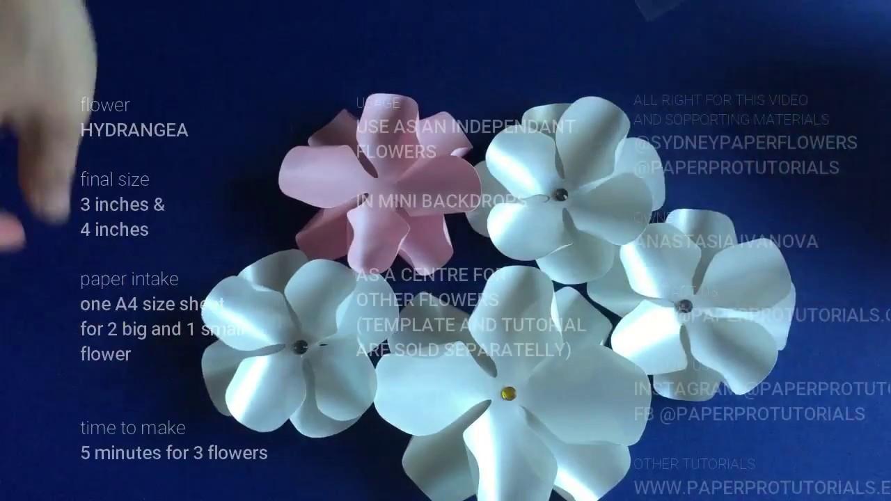 Hydrangea Paper Flower Video Tutorialhow To Make A Paper Flower