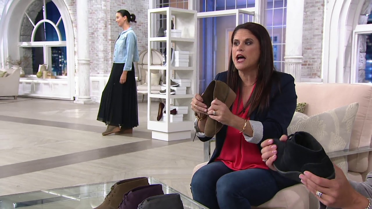 7f770077ab5 Clarks Suede Lace-Up Wedge Booties - Hazen Charm on QVC - YouTube