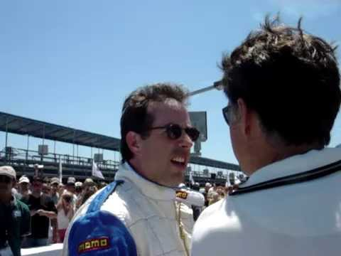 Jerry Seinfeld out of race car