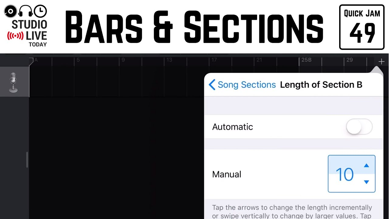 How to set number of bars and use song sections in GarageBand iOS