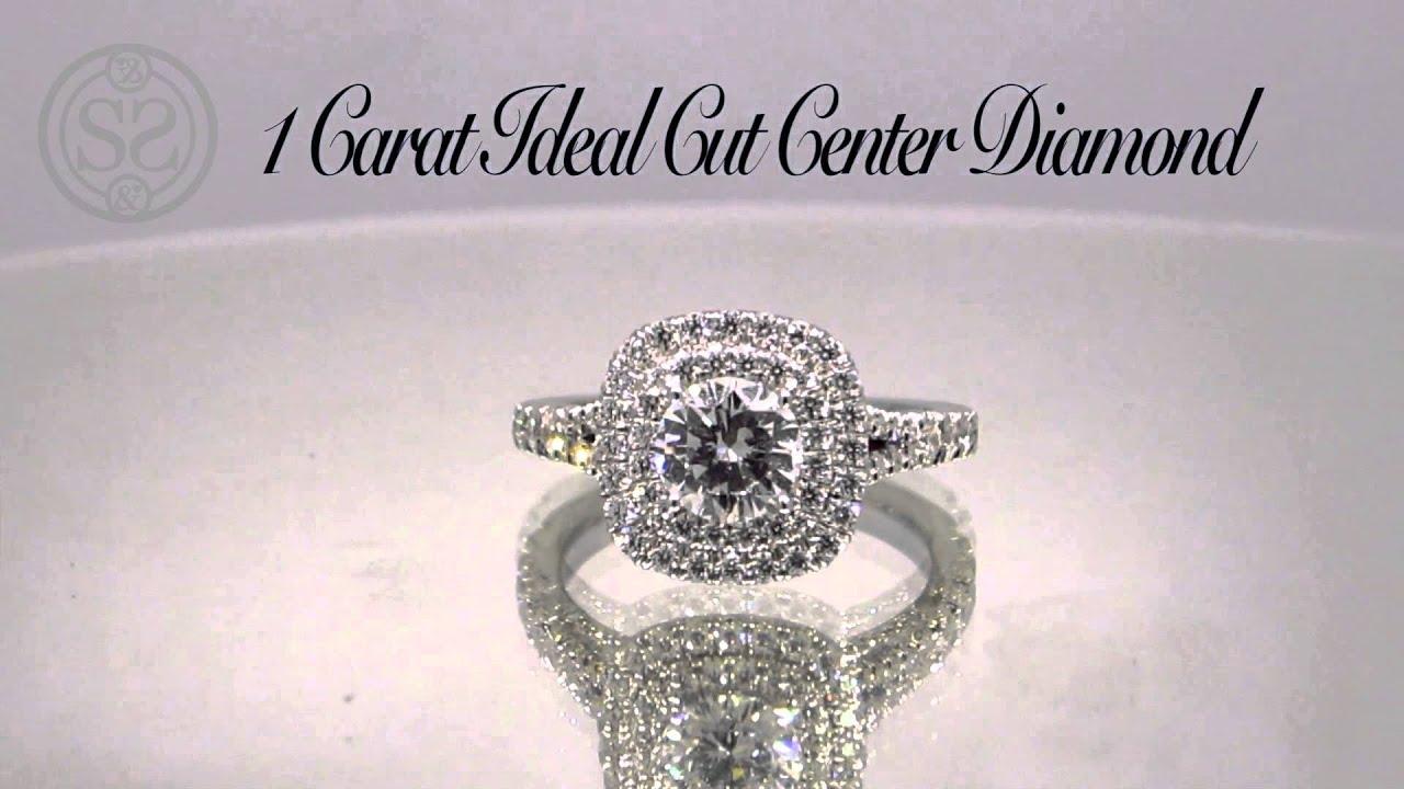 Double Halo Engagement Ring And Matching Wedding Band Youtube