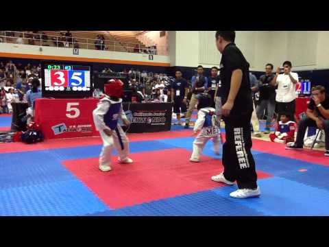 U.S. JUNIOR TAEKWONDO CHAMPIONSHIPS 2013--6/7 YEAR OLD SPARRING--BLUE BELT