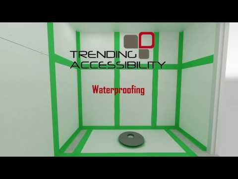 The Adjustable Fusion Shower Pan™ Recessed into Concrete creates a European Wet Room™