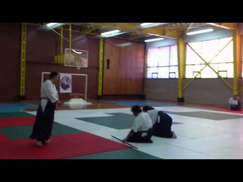 Tomando examen para Ni Dan de Aikido ante Sensei Peter Bernarth