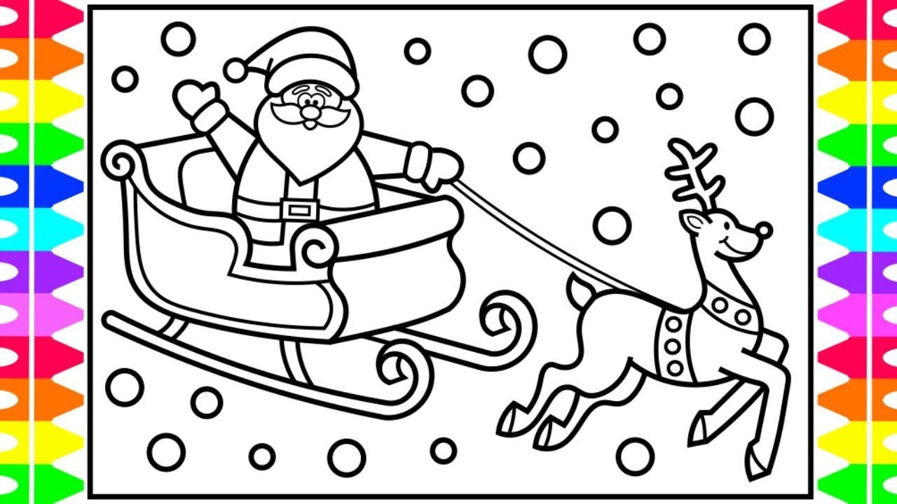 santa sleigh coloring page # 0