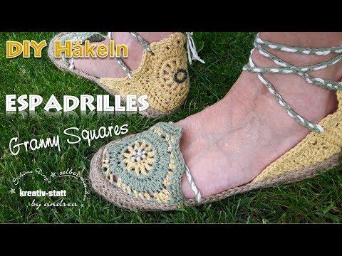 DIY Häkeln Espadrilles - Sandalen Granny Squares Jutesohle / Crochet Sandals Jute Soles [How To]