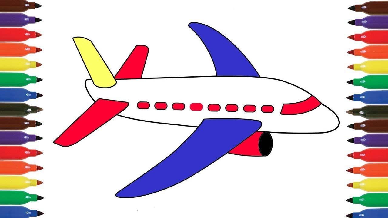 How To Draw Aeroplane For Kids Airoplane Colors Video Airplane Coloring Pages For Preschool Youtube