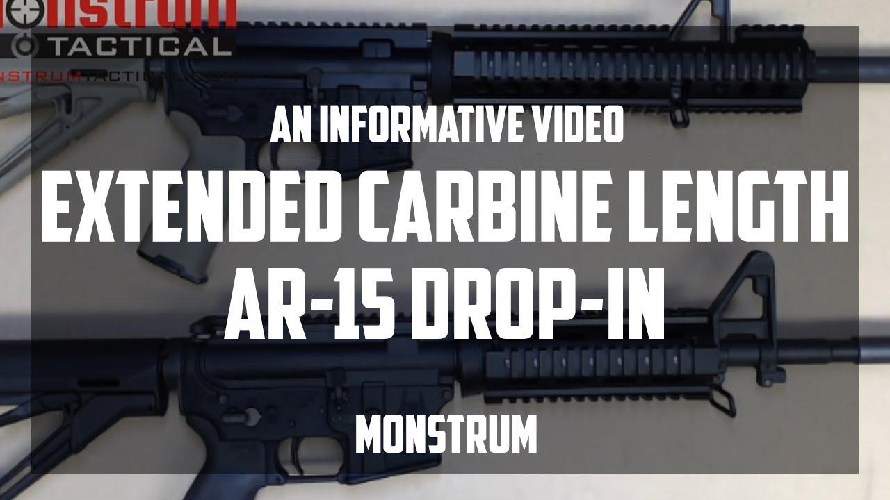 The Extended Carbine Length AR 15 Drop In Quad Rail Handguard With A2 FSP Cutout