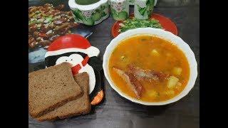 Очень вкусный гороховый суп с копчеными ребрышками!