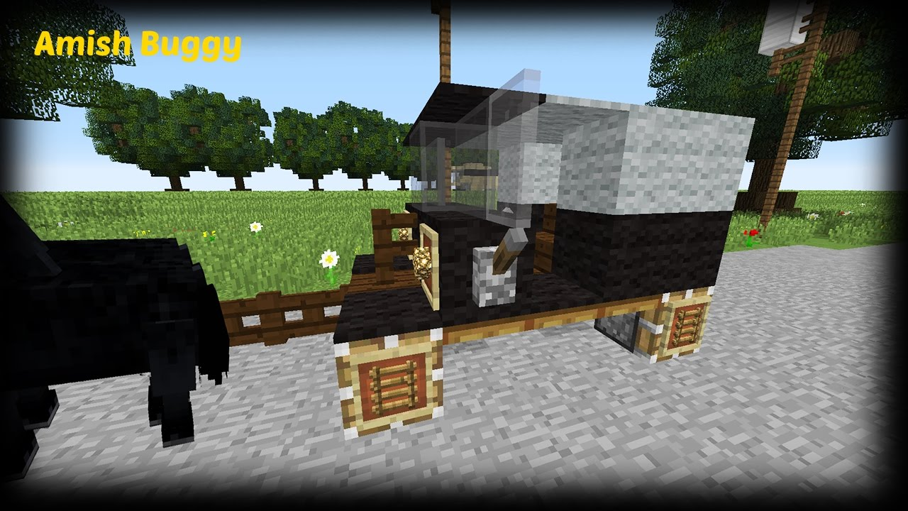 Minecraft how to make an amish buggy horse carriage for How to build a carriage