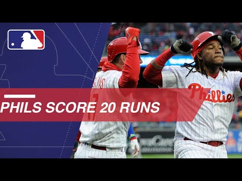 The Phillies crush two grand slams and score 20 runs to blow out Marlins