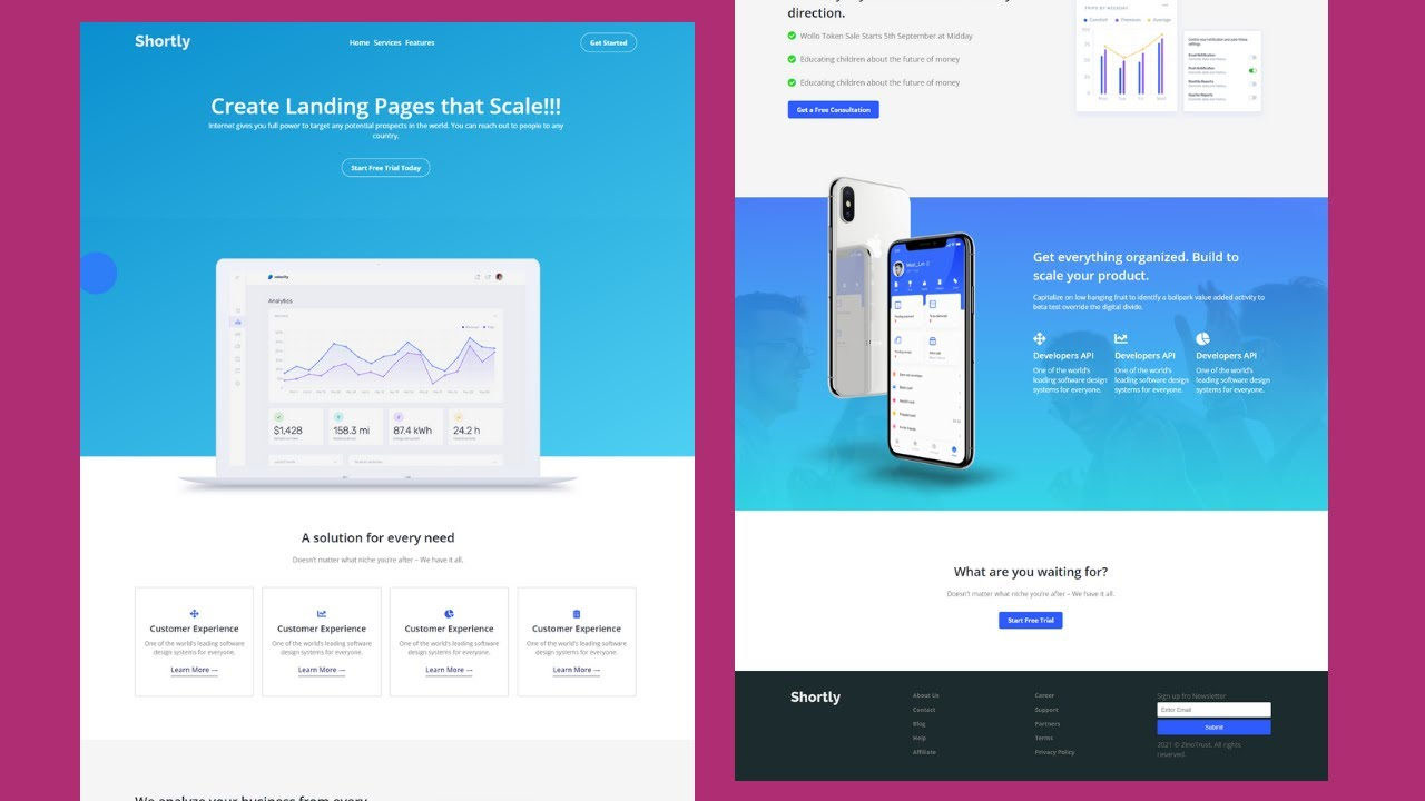 Build A Responsive Website With Html Css And Javascript  Landing Page Website