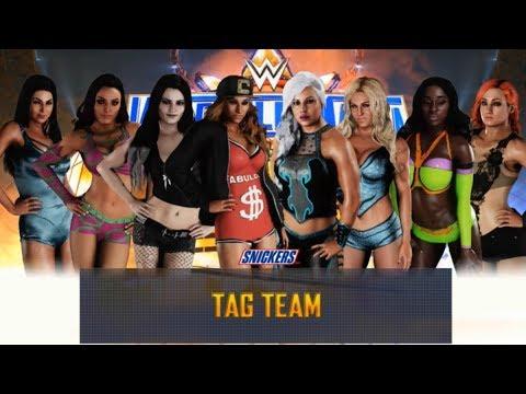 WWE 2K18 CARMELLA,PAIGE & ICONIC DUO VS DANA BROOKE CHARLOTTE FLAIR NAOMI BECKY LYNCH