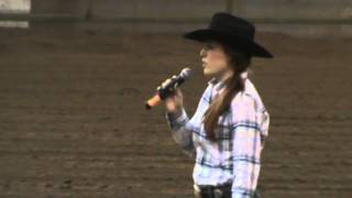 Briana Lee Sining the National Anthem at the Western Stockhorse Show in Albany, OR