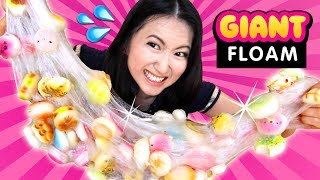 DIY JUMBO FLOAM Slime with 100 SQUISHIES!!! Giant ASMR Slime Squishing!