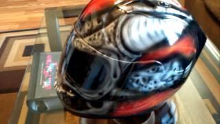 Custom Painted Skull With True Fire Helmet