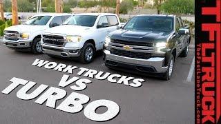 Work Trucks Wars: 2019 Chevy Silverado 4-Cylinder Turbo vs Ford F150 vs Ram 1500 Review thumbnail