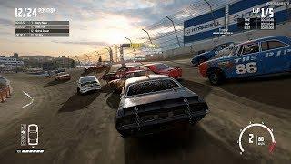 Wreckfest - Dirt Devil Stadium Dirt Speedway - Xbox One X Gameplay (Realistic Damage)