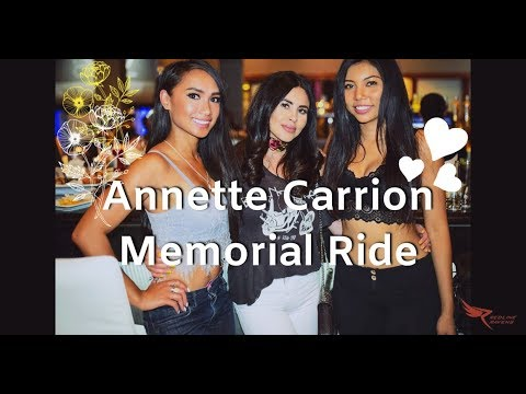 This video is about the Annette Carrion Memorial Ride, a charity event for Redline Ravens co-founder Annette Carrion, who was killed. Mizziel co-founded the all-female riding group with Carrion.