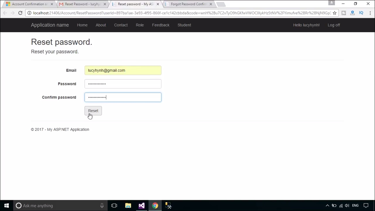 ASP NET MVC #18 : How to implement password reset with ASP NET Identity |  FoxLearn
