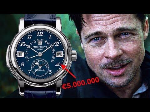 BRAD PITT HEEFT EEN PATEK PHILIPPE VAN MEER DAN €5 MILJOEN EURO EN NOG VEEL MEER HORLOGES
