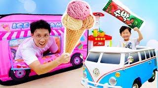 아이스크림 사세요! 예준이와 아빠의 아이스크림 트럭 과일 가게 놀이 죠니죠니 예스파파 동요 전동 자동차 장난감 Johny Johny Yes Papa