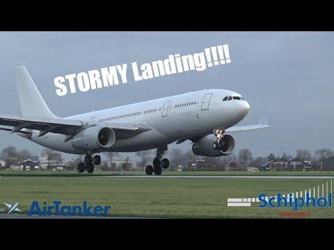 STORM!!! AirTanker A330 CROSSWIND Landing at Amsterdam Schiphol Airport!