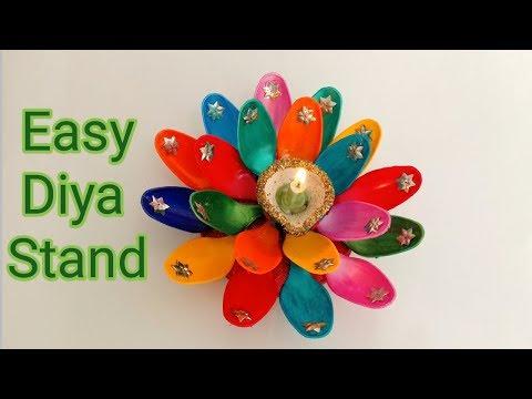 DIY Diya Stand From Plastic Spoons /Diwali Decoration Ideas -Shamina's DIY