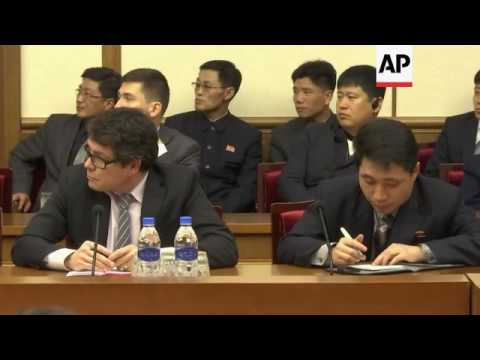 Detained student presented to the media in Pyongyang