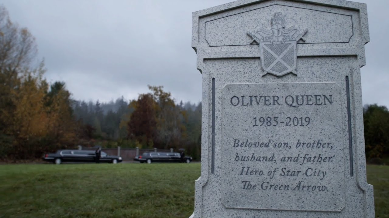 The tombstone of Oliver Queen in Arrow